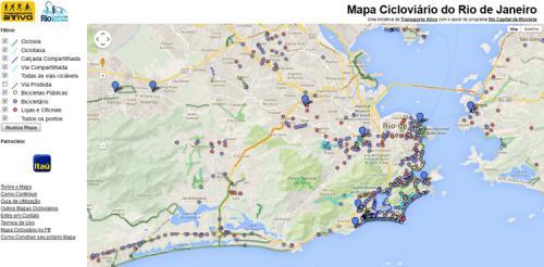 Mapa cicloviário do Rio de Janeiro.