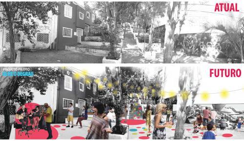 Imagem mostra a revitalização de passagem proposta pela equipe Olhe o Degrau.