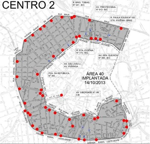 Mapa da àrea 40 no centro de São Paulo: limite de velocidade para segurança de pedestres e ciclistas