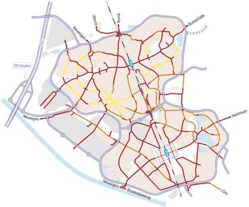 Vermelho - ciclovias livres; laranja - ruas compartilhadas; amarelo - pedestres e bike